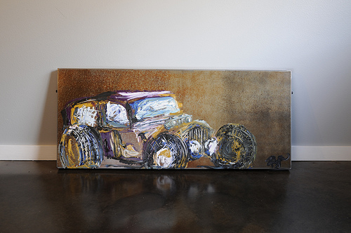 RATROD Oil on Metal Canvas (Image Courtesy of Kathryn Hester and Ryn Gallery)