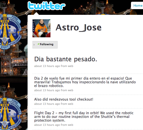 Astronaut Jose Hernandez Twitter page. Image capture by Jing