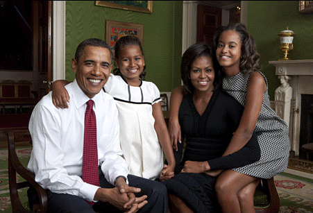 The First Family photographed September 1st, 2009 at the Green Room in the White House. Photo by Annie Leibovitz