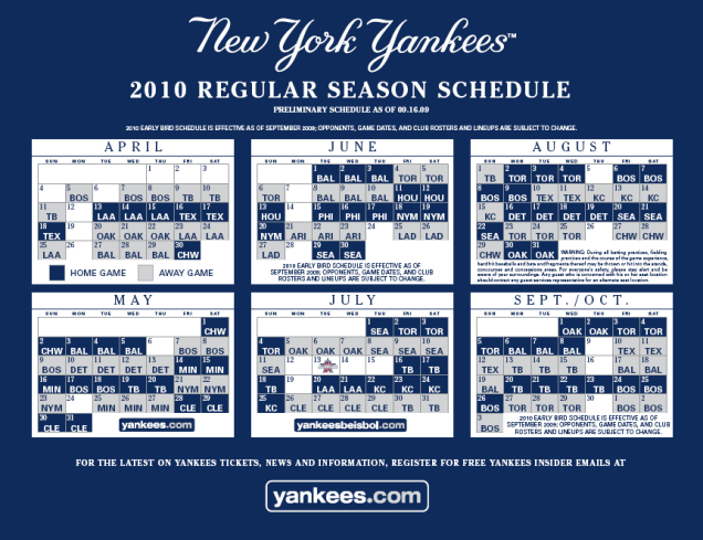 2010 Yankees Regular Season Schedule