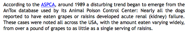 ASPCA information that raisins are harmful to dogs