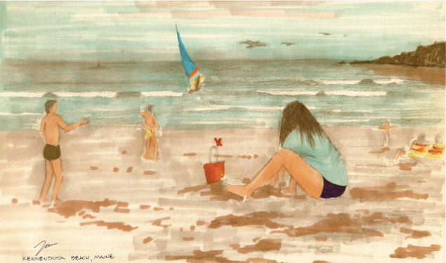 Pen and pencil Drawing: Children Playing on the Beach